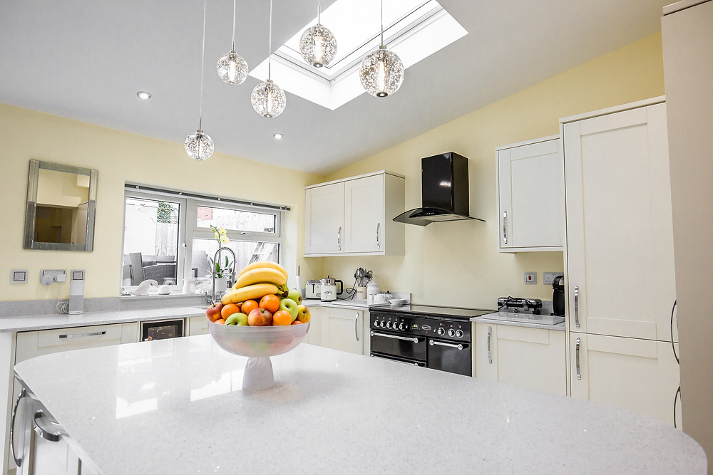 Kitchen extension with new kitchen installation and kitchen island in a property in Cardiff, South Wales