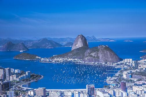 Landscape photograph of blue hour over Sugarloaf mountain in Rio De Janeiro, Brazil