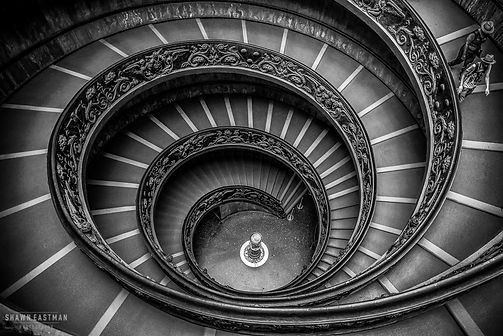 Black and white street photograph of a shot of the Bramante staircase in the Vatican Museums
