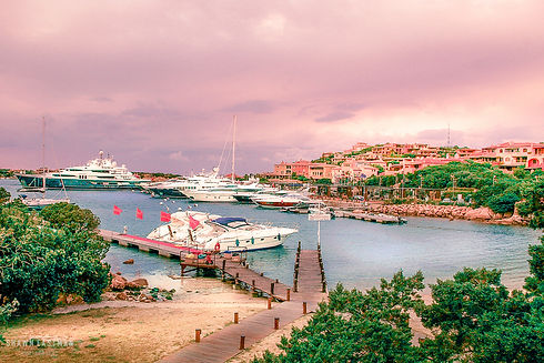 Landscape photograph of sunset in Porto Cervo in Sardinia, Italy