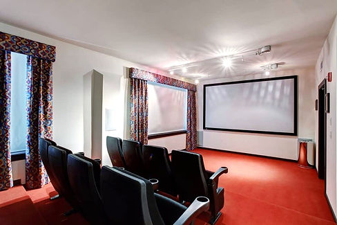 A basement converted into a cinema room in a property in Cardiff