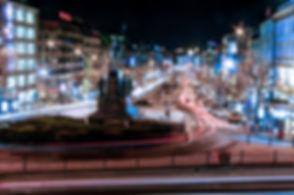 Nighttime long exposure photograph of Wenceslas Square in Prague, Czech Republic