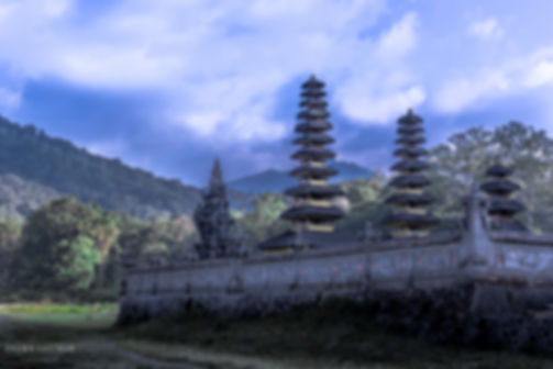 Landscape photograph of Pura Gubug temple in Danau Tamblingan, Bali, Indonesia