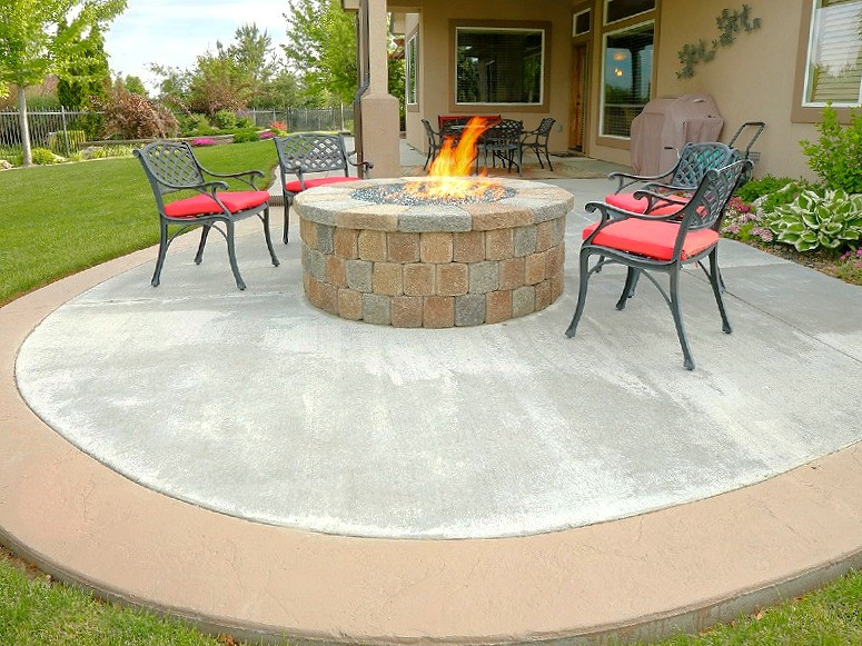 A concrete patio in Cardiff, South Wales