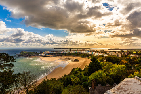 sunset-tenby-north-beach-aerial-photogra
