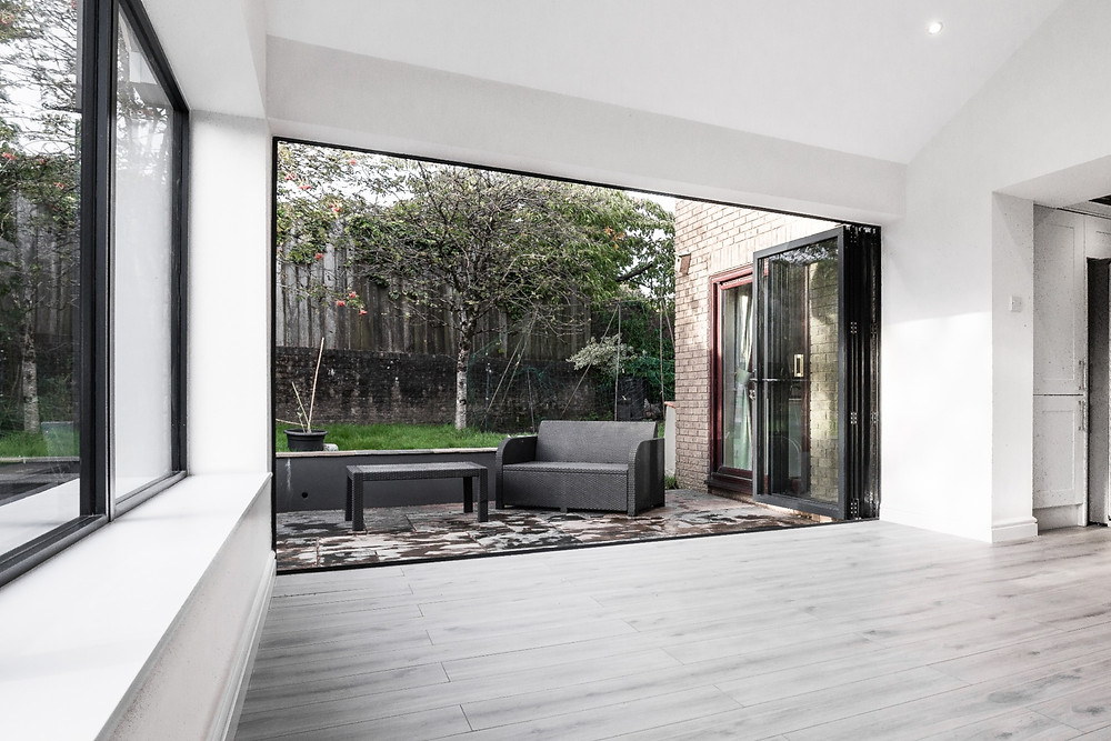 Large open bi-fold doors
