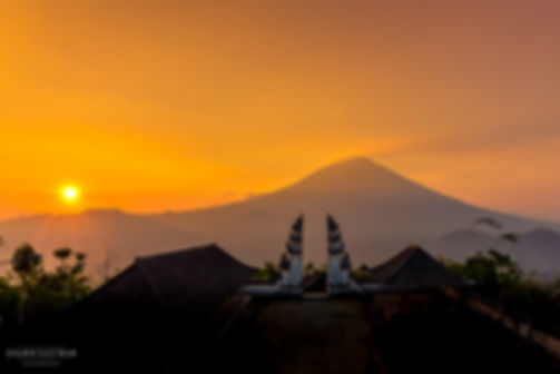 Landscape photograph of a beautiful sunset at Pura Lempuyang in Bali, Indonesia
