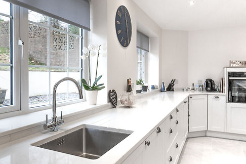 A new kitchen installation inside a house in Cardiff, South Wales