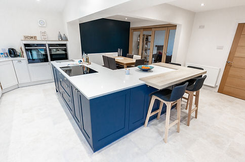 Modern kitchen diner newly built into an extension at a property in Cardiff, South Wales