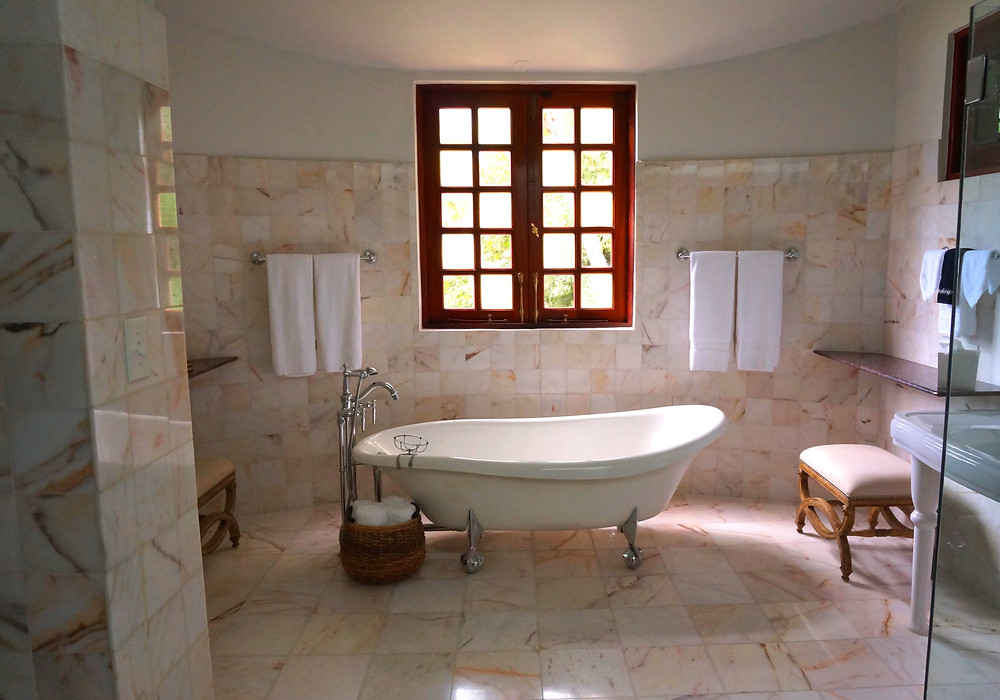Bathroom installation with freestanding bath in a property in Cardiff, South Wales