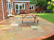 A pavement patio in the garden of a property in Cardiff, South Wales