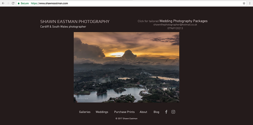 Screenshot of the Shawn Eastman Photography website homepage