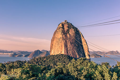 Landscape photograph of sunset at Sugarloaf mountain in Rio De Janeiro, Brazil