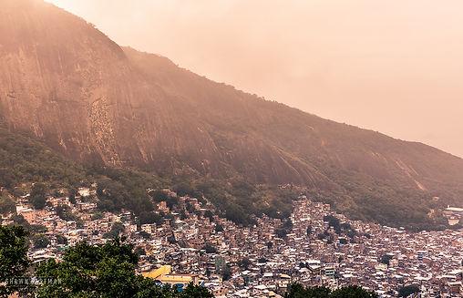 Landscape photograph of the sunset over Rochina favela in Rio De Janeiro, Brazil