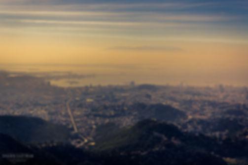 Landscape aerial photograph of sunset overlooking Rio De Janeiro in Brazil