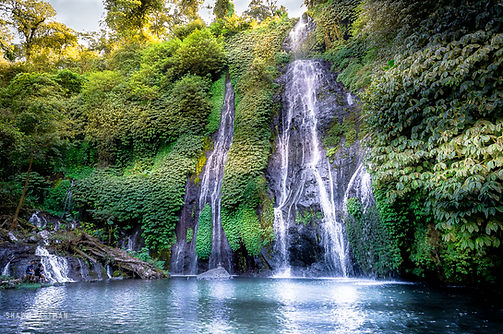 Landscape photograph of Banyumala waterfalls in Bali, Indonesia