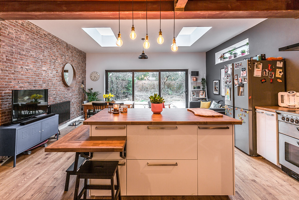Kitchen diner extension with kitchen island in a property in Cardiff, South Wales
