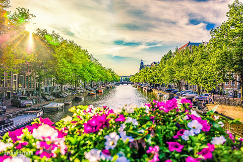Landscape photograph of a canal in Amsterdam, the Netherlands
