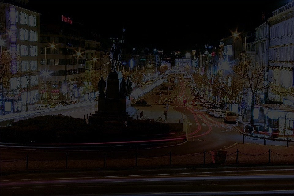 Long exposure image at night of Wenceslas Square in Prague, Czech Republic