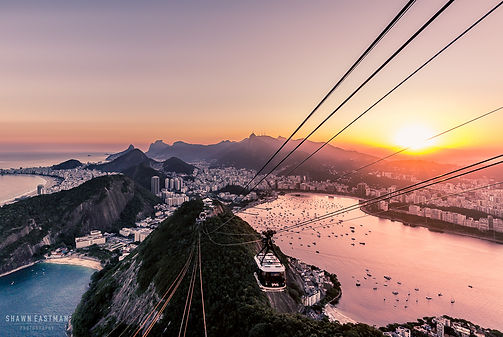 Landscape photograph of the sunset view from the top of the Sugarloaf Mountain in Rio De Janeiro, Brazil