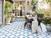 A tile patio in a garden at a property in Cardiff, South Wales