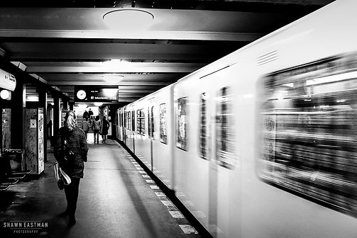Street photograph inside an underground train station in Berlin, Germany