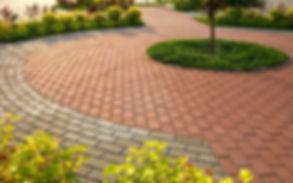 A block paving driveway outside a house in Cardiff, South Wales