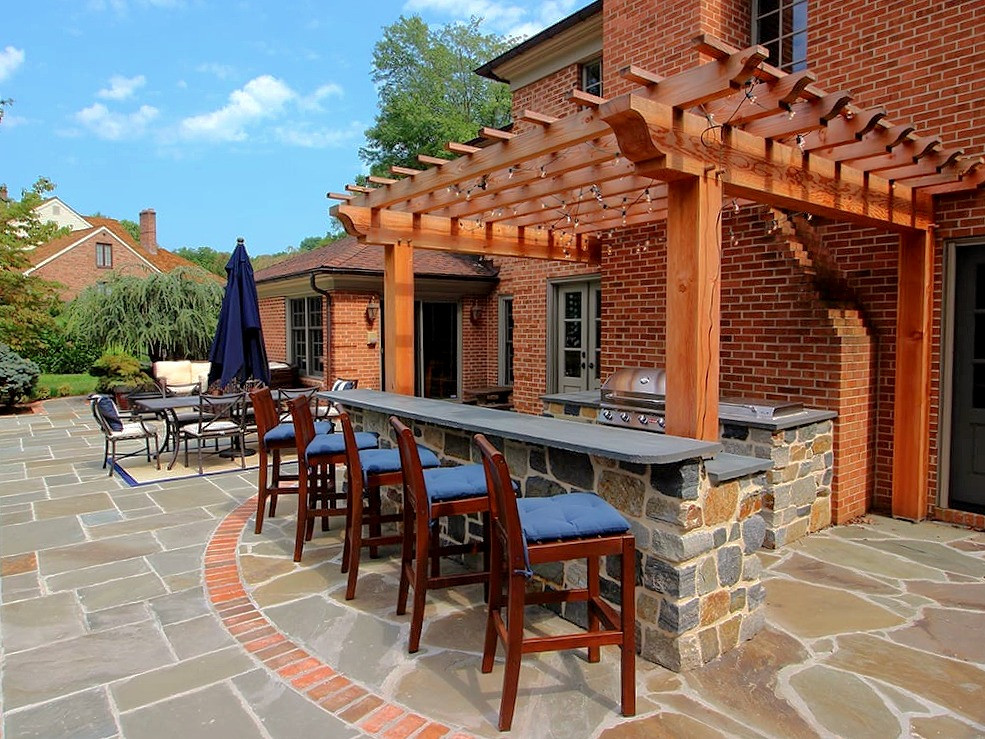 A flagstone patio in Cardiff, South Wales
