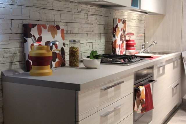 Kitchen worktop and stove in a property in Cardiff, South Wales