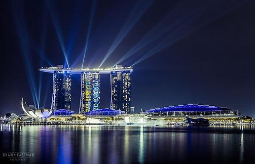 Long exposure night photograph of Marina Sands Bay light show in Singapore