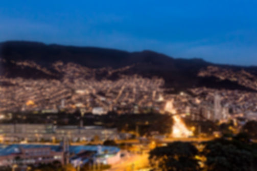 Nighttime landscape photograph of blue hour with a city view in Medellín, Colombia