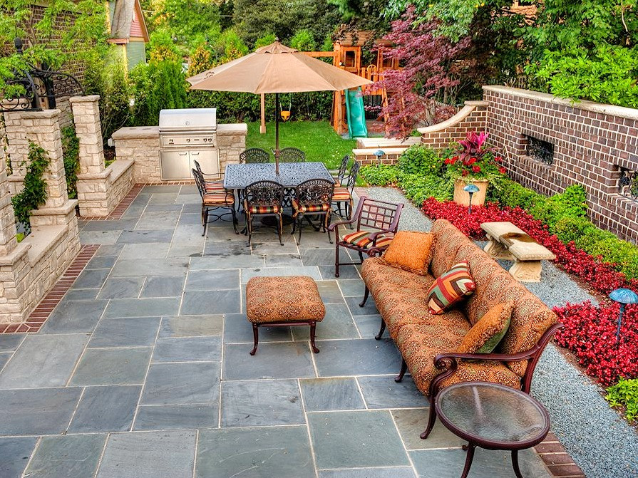A cut stone patio in Cardiff, South Wales