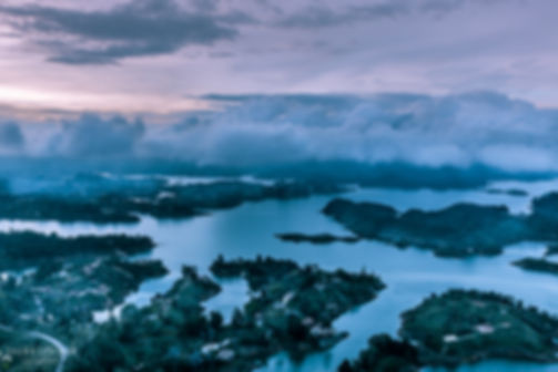 Landscape photograph of blue hour just after sunset in Guatape, Colombia