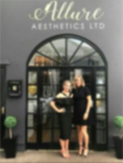 Ann-Marie Harris and Roisin Hopkins outside Allure Aesthetis Ltd skin care clinic in Abergavenny, South Wales