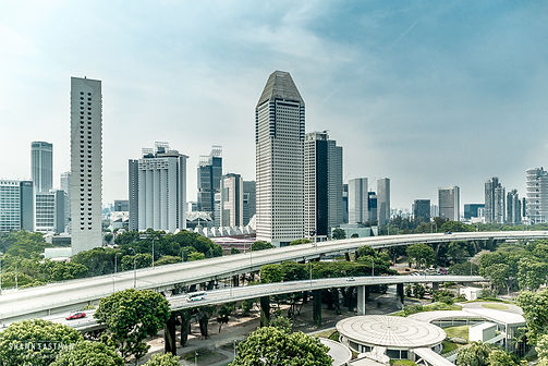 Street photograph of a view of the Singapore skyline