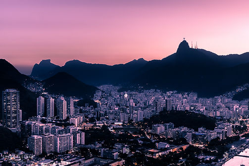 Landscape photograph of sunset in Rio De Janeiro, Brazil, with Christ the Redeemer and the city below