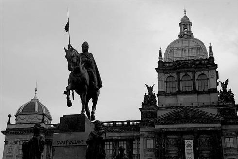 black-and-white-statue-saint-wenceslas-s