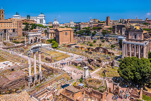 Landscape photograph of the Roman Forum in Rome, Italy