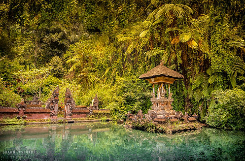 Landscape photograph a small temple on a lake in Bali, Indonesia
