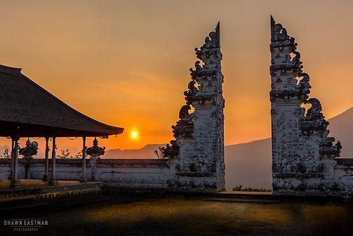 Landscape photograph of a beautiful sunset at Pura Lempuyang in Bali, Indonesia