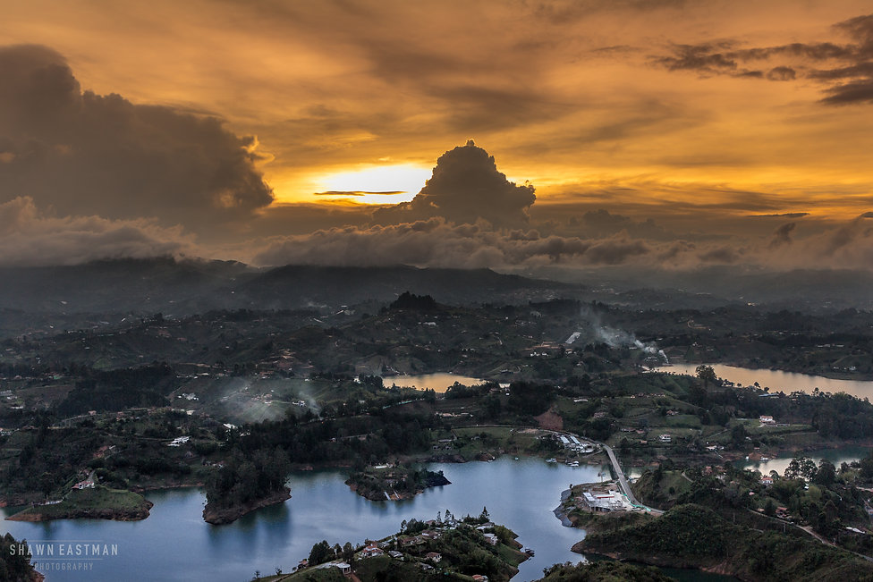 Beautiful sunset in Guatapé, an Andean resort town in northwest Colombia, east of Medellín