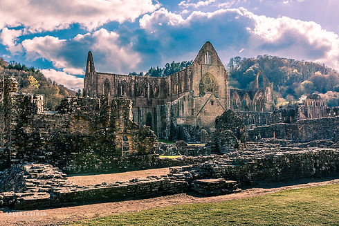Landscape photograph of the Tintern Abbey in Monmoutshire, Wales, United Kingdom