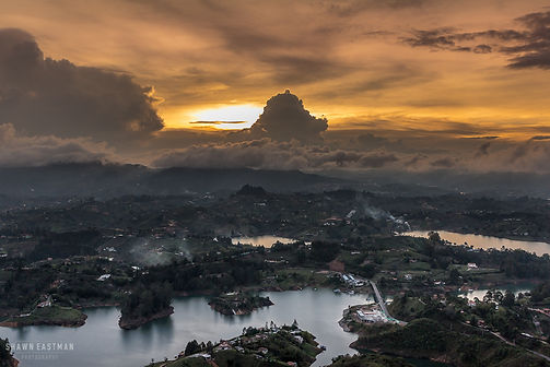 Landscape photograph of sunset in Guatape, Colombia