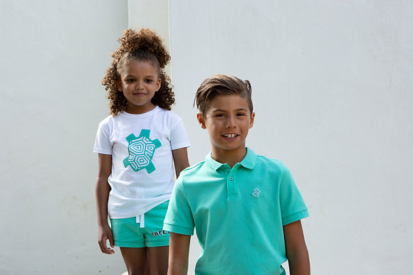 T-shirt Wit logo Groen