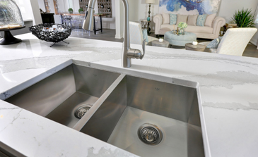 Beautiful Cambria® quartz countertops will bring elegance to your dream kitchen. Your bathrooms also get some special treatment with MSI or Caesarstone® quartz.