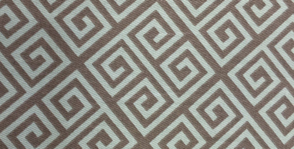 Greek Key Fabric - Aqua - Gray Greek Key