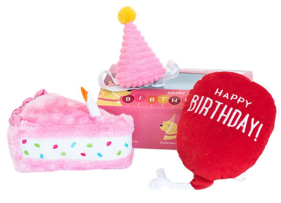 Zippy Paws Birthday Box Plush Squeaker Dog Toys - 3 Toys in Pink