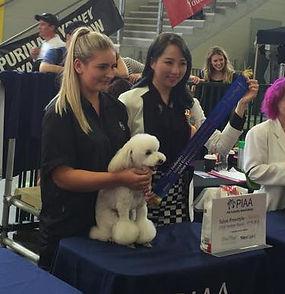 Judge Valerie Khoo (Malaysia) awarding Leah & Daisy first place