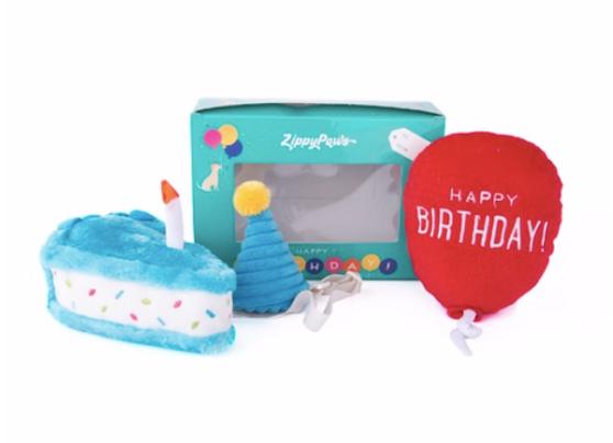 Zippy Paws Birthday Box with Cake, Balloon & Party Hat