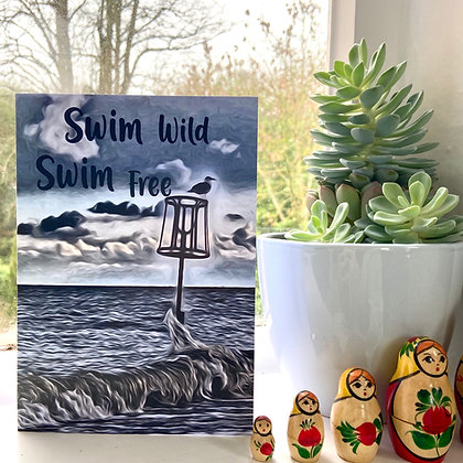 Swim Wild Swim Free Birthday Card